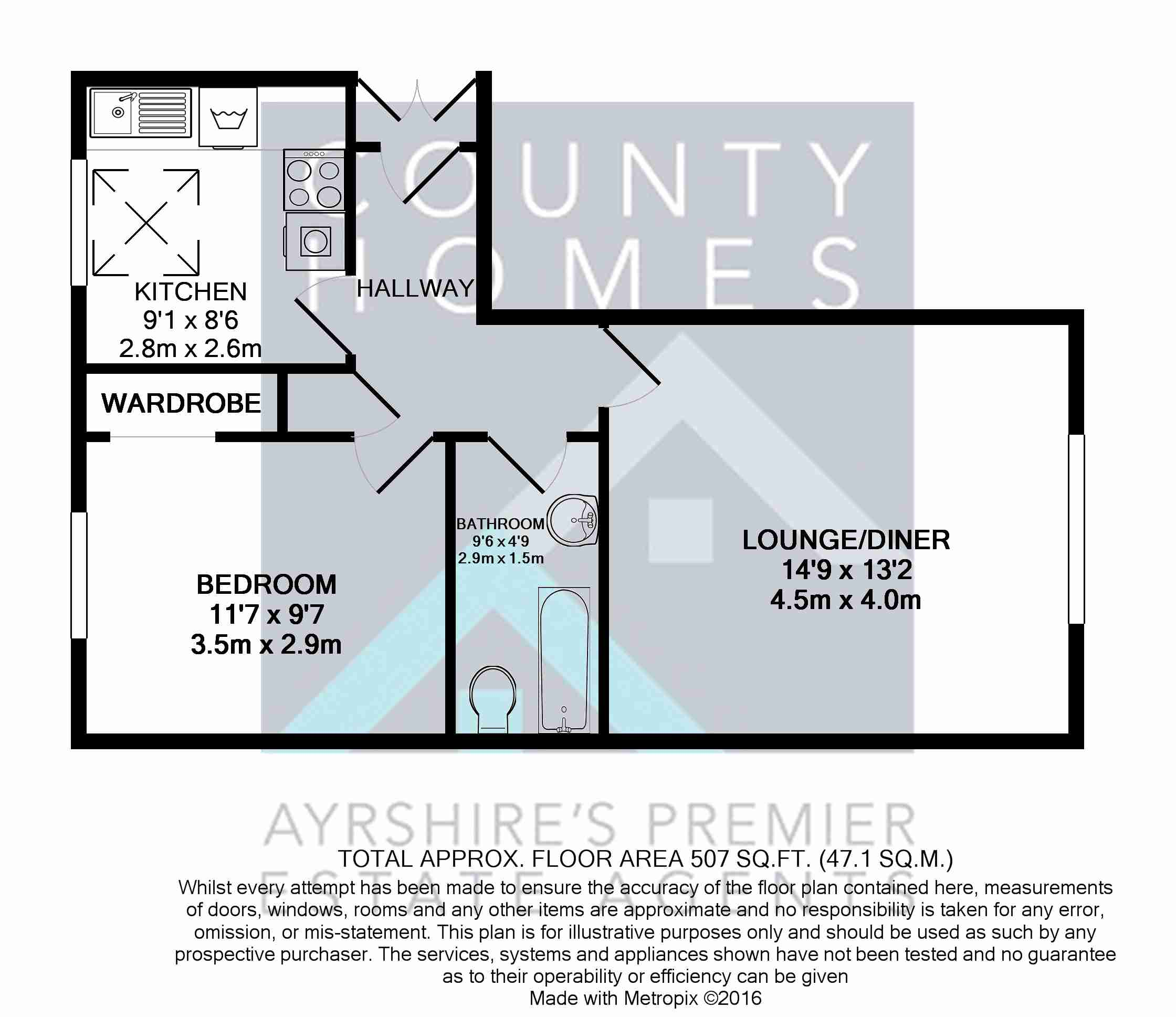 Floor Plan of 1 bedrooms Apartment / Flat for sale